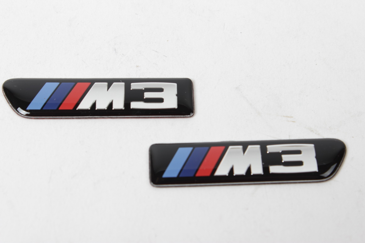 Chuangzhi Sales Fit BMW M Emblem Tri Color Rear Emblem Fender Side Emblem Car Decal Logo Sticker Fit B-M-W M Accessories Black